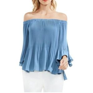 Vince Camuto Dusty Blue Off the Shoulder Top XS